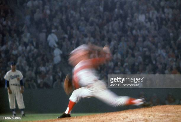 Blurred view of Cincinnati Reds Jim O'Toole in action pitching vs Los Angeles Dodgers at Los Angeles Memorial Coliseum Game 2 of twinight double...