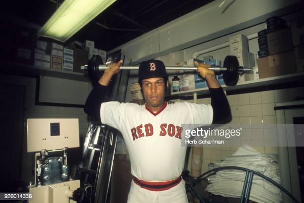 Boston Orlando Cepeda lifting weights before game vs Minnesota Twins at Fenway Park Boston MA CREDIT Herb Scharfman
