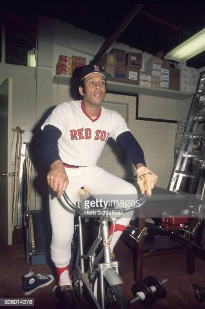 Boston Orlando Cepeda riding stationary bicycle before game vs Minnesota Twins at Fenway Park Boston MA CREDIT Herb Scharfman