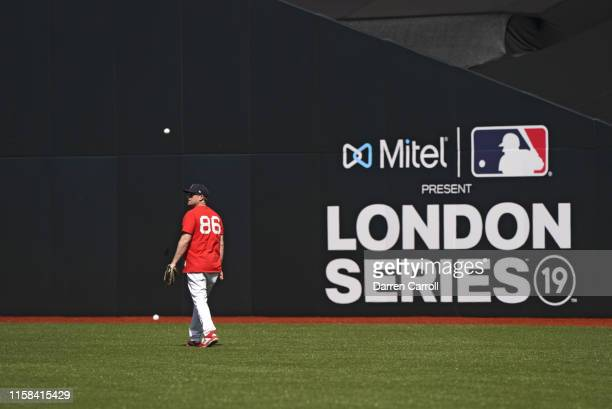 Boston Red Sox assistant pitching coach Brian Bannister in outfield before game vs New York Yankees at London Stadium London Series London England...