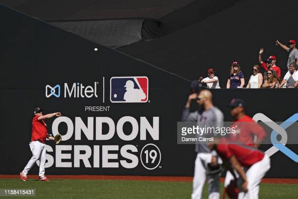 Boston Red Sox assistant pitching coach Brian Bannister throwing in outfield before game vs New York Yankees at London Stadium London Series London...