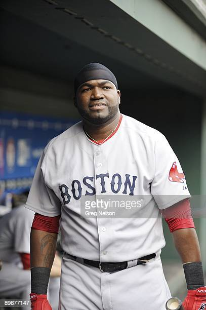 Boston Red Sox David Ortiz in dugout during game vs Texas Rangers Arlington TX 7/22/2009 CREDIT Greg Nelson