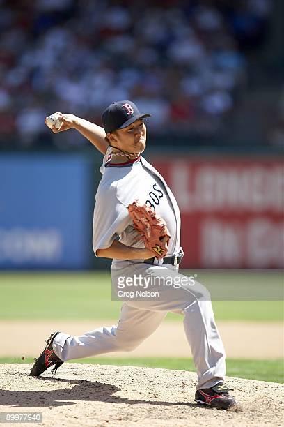Boston Red Sox Hideki Okajima in action pitching vs Texas Rangers Arlington TX 8/16/2009 CREDIT Greg Nelson