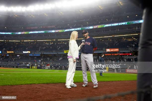 Boston Red Sox Mitch Moreland during on field interview with NESN Guerin Austin after game vs New York Yankees at Yankee Stadium Bronx NY CREDIT Rob...