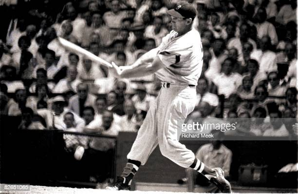 Boston Red Sox Ted Williams in action at bat vs Cleveland Indians Cleveland OH 7/16/1955 CREDIT Richard Meek