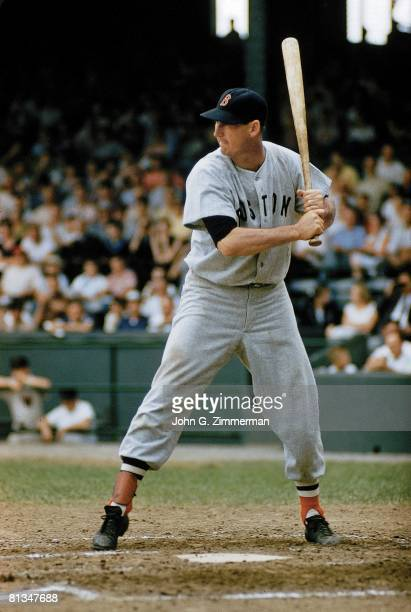 Baseball Boston Red Sox Ted Williams in action vs Washington Senators Washington DC 5/1/1957