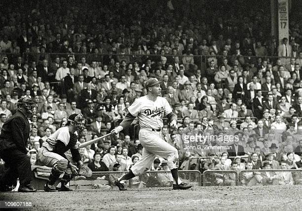 Brooklyn Dodgers Duke Snider in action at bat home run vs Pittsburgh Pirates at Forbes Field Dodgers win pennantPittsburgh PA 9/23/1956CREDIT John G...