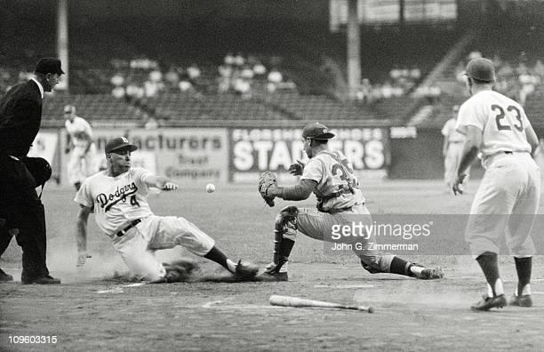 Broooklyn Dodgers Duke Snider in action slides home vs Philadelphia Phillies at Ebbets FieldBrookly NY 7/5/1957CREDIT John G Zimmerman