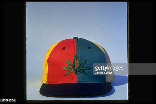 Baseball cap sporting marijuana leaf emblem is example of potleaf clothing fad among rockers their fans