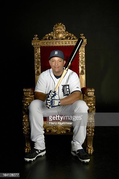 Casual portrait of Detroit Tigers Miguel Cabrera posing on throne during photo shoot at TYE Studio Fort Lauderdale FL CREDIT Heinz Kluetmeier