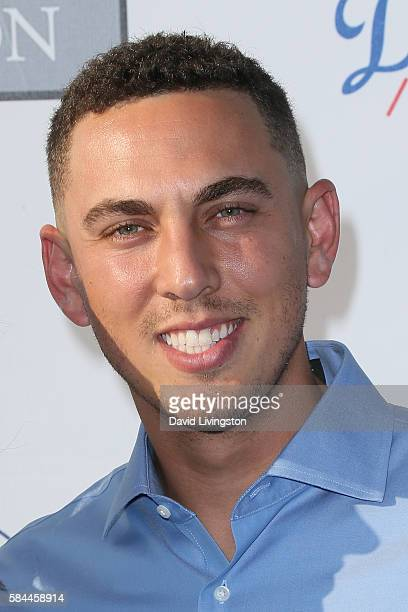 Baseball catcher Austin Barnes arrives at the Los Angeles Dodgers Foundation Blue Diamond Gala at the Dodger Stadium on July 28 2016 in Los Angeles...