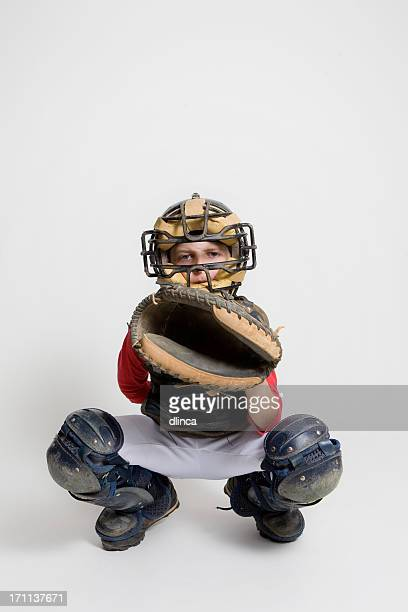 baseball catcher in studio - baseball catcher stock photos and pictures
