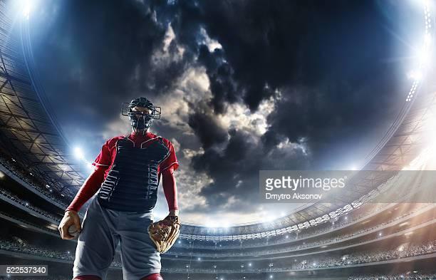 Catcher de Baseball au stade