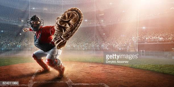 baseball catcher on stadium - baseball catcher stock photos and pictures