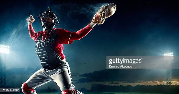 baseball catcher on stadium - pitch stock pictures, royalty-free photos & images