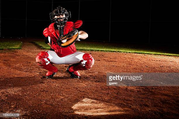 baseball catcher ready for action - home base sports stock pictures, royalty-free photos & images