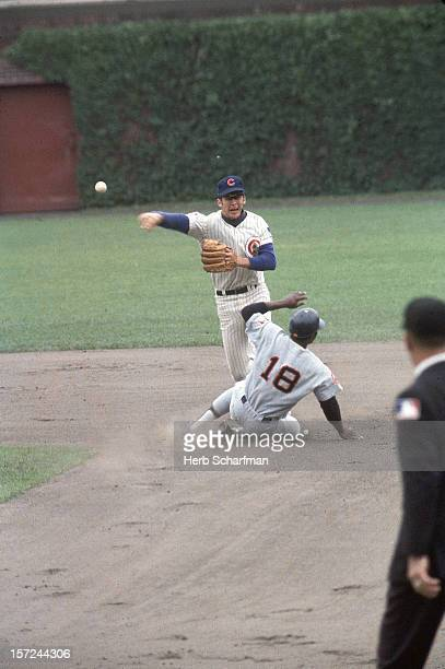 Chicago Cubs Glenn Beckert in action making throw vs Houston Astros at Wrigley Field Chicago IL CREDIT Herb Scharfman