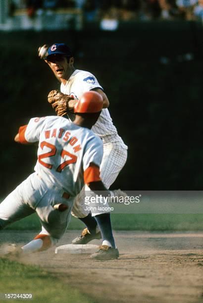 Chicago Cubs Glenn Beckert in action making throw vs Houston Astros Bob Watson at Wrigley Field Chicago IL CREDIT John Iacono