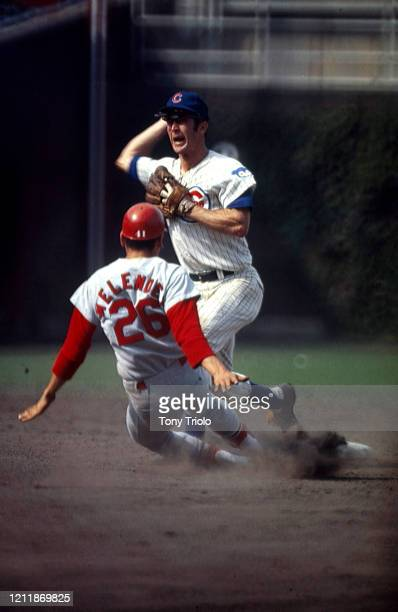 Chicago Cubs Glenn Beckert in action turning double play vs St Louis Cardinals Luis Melendez at Wrigley Field Chicago IL CREDIT Tony Triolo