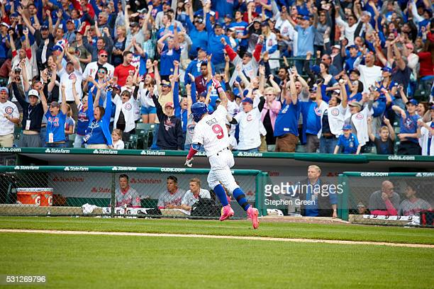 Chicago Cubs Javier Baez in action running bases after hitting game winning home run vs Washington Nationals at Wrigley Field Baez hits game winning...