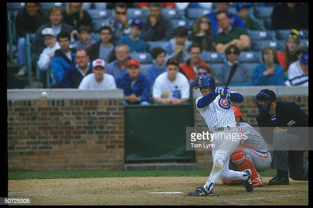 Chicago Cubs Rey Sanchez in action AB during game vs Phila Phillies