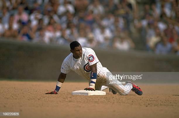 Chicago Cubs Sammy Sosa in action, 2nd base slide vs St. Louis Cardinals. Chicago, IL 6/30/1995 CREDIT: John Biever