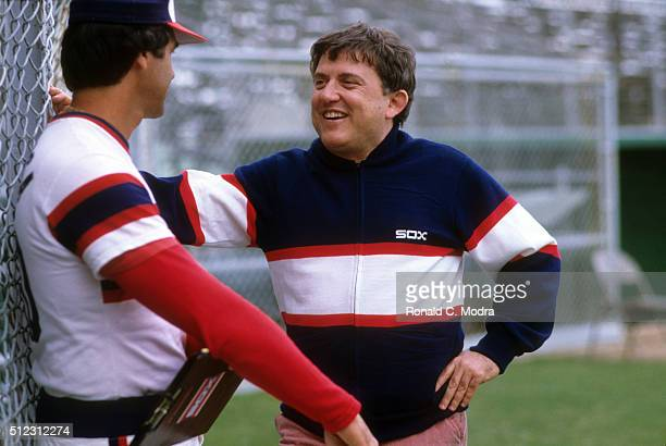 Chicago White Sox Manager Tony La Russa talking with team coowner and TVS televison executive Eddie Einhorn at spring training Sarasota FL CREDIT...
