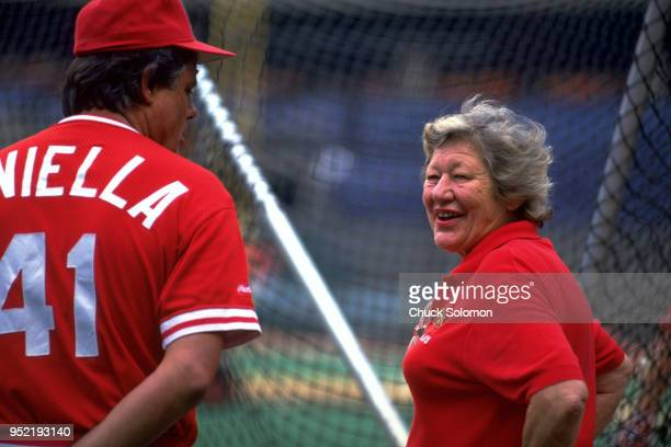 Cincinnati Reds owner Marge Schott with manager Lou Piniella before game vs Pittsburgh Pirates at Riverfront Stadium Cincinnati OH CREDIT Chuck...