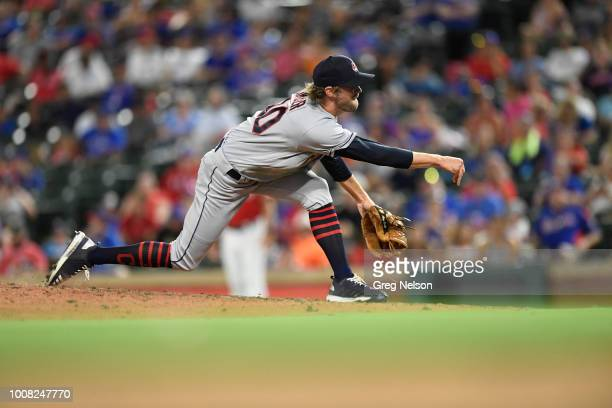 Cleveland Indians Adam Cimber in action pitching vs Texas Rangers at Globe Life Park in Arlington Arlington TX CREDIT Greg Nelson