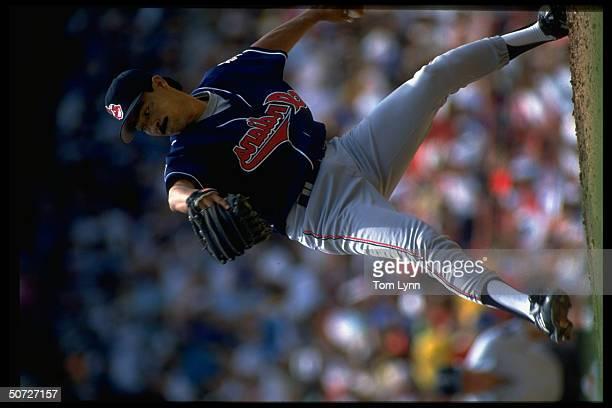 Cleveland Indians Dennis Martinez in action alone