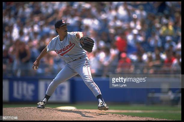 Cleveland Indians Dennis Martinez in action alone vs Chicago White Sox