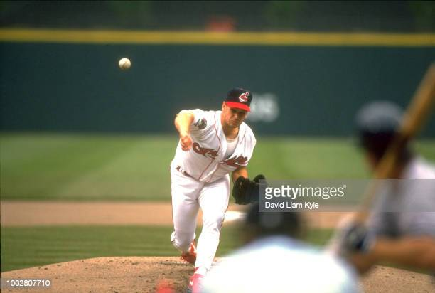 Cleveland Indians Jerry Dipoto in action pitching vs New York Yankees at Jacobs Field Cleveland OH CREDIT David Liam Kyle