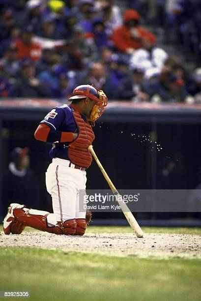 Cleveland Indians Sandy Alomar Jr spitting chewing tobacco through mask during game vs Toronto Blue Jays Cleveland OH 4/6/1996 CREDIT David Liam Kyle