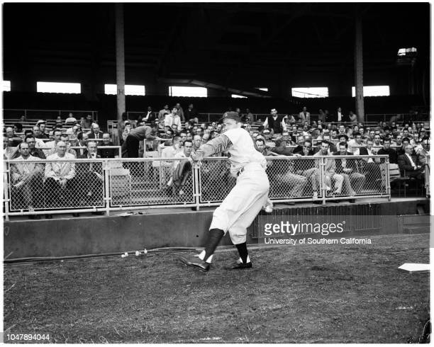 Baseball clinic 8 February 1958 Gil HodgesEd RoebuckJim GilliamGino CimoliDow Jeane presents Ebbets Field home plate 'Sports' Caption slip reads...