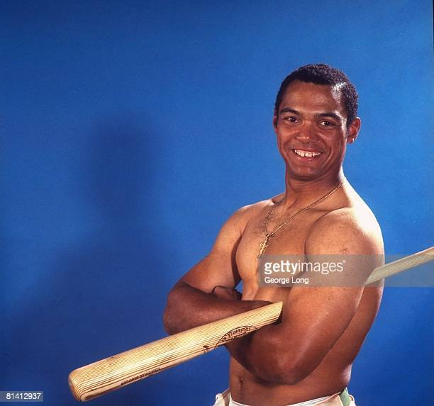 Baseball Closeup casual portrait of Oakland Athletics Reggie Jackson with bat equipment Oakland CA 6/26/1969