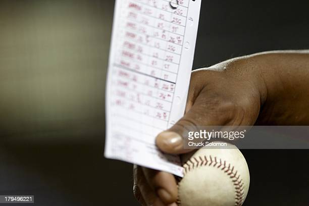 Closeup of ball and lineup card during Baltimore Orioles vs New York Yankees game at Yankee Stadium Equipment Bronx NY CREDIT Chuck Solomon