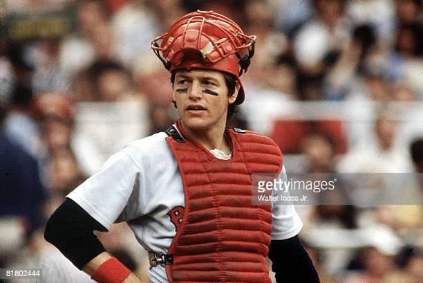 Baseball Closeup of Boston Red Sox Carlton Fisk during game vs New York Yankees Bronx NY 9/16/1978