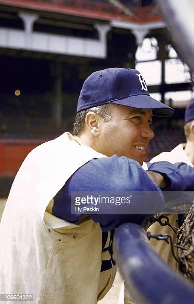Closeup of Brooklyn Dodgers Duke Snider before game at Ebbets FieldBrooklyn NY 8/9/19558/31/1955CREDIT Hy Peskin