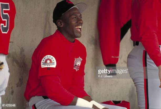 Baseball: Closeup of former basketball player Scottsdale Scorpions Michael Jordan in dugout before game, Scottsdale, AZ