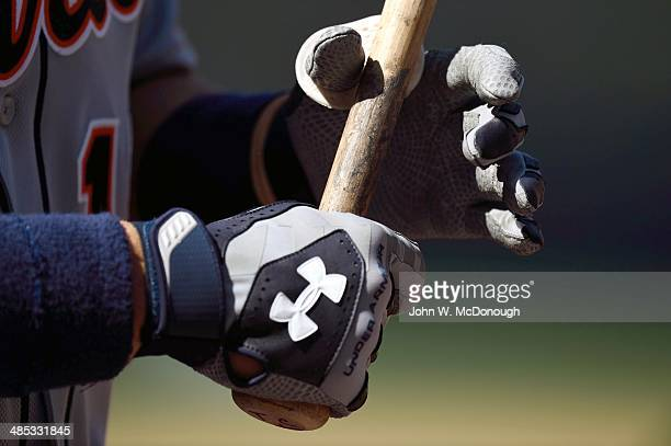 Closeup of hands and batting gloves of Detroit Tigers player during at bat vs San Diego Padres at Petco Park Equipment San Diego CA CREDIT John W...