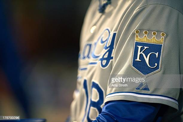Closeup of Kansas City Royals uniform and sleeve logo patch from dugout during game vs New York Mets at Citi Field Flushing NY CREDIT Amy Stroth