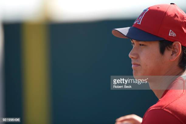 Closeup of Los Angeles Angels of Anaheim Shohei Ohtani before spring training B game at Tempe Diablo Stadium Tempe AZ CREDIT Robert Beck