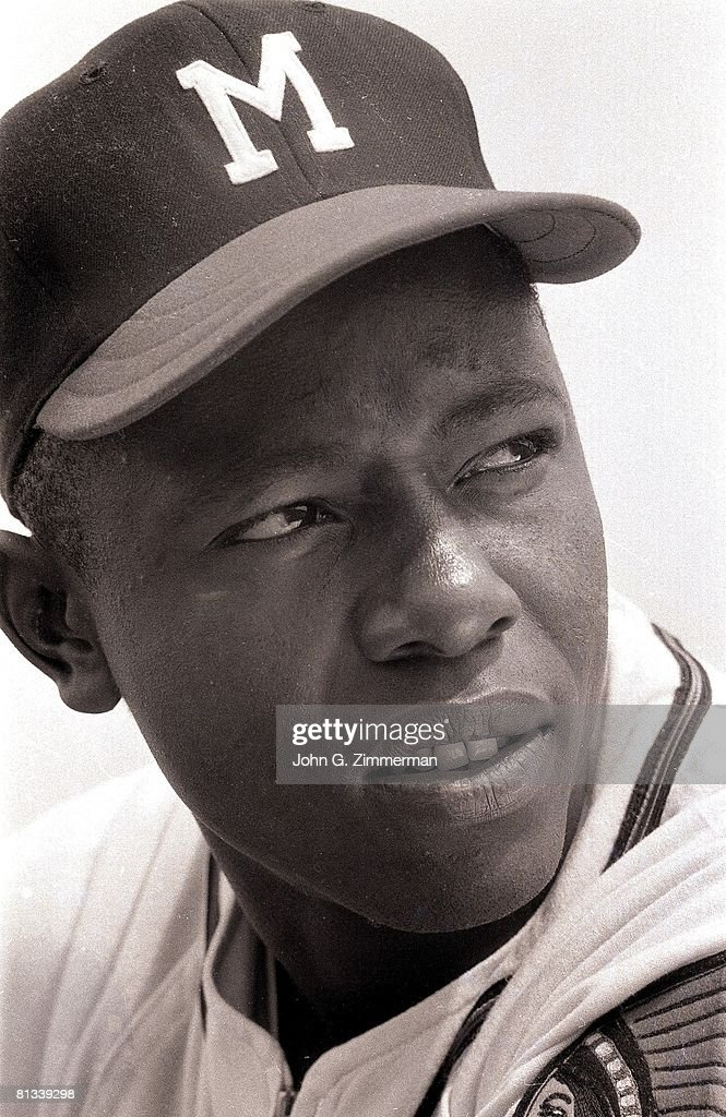 Closeup of Milwaukee Braves Hank Aaron (44) during spring training, FL 3/8/1957