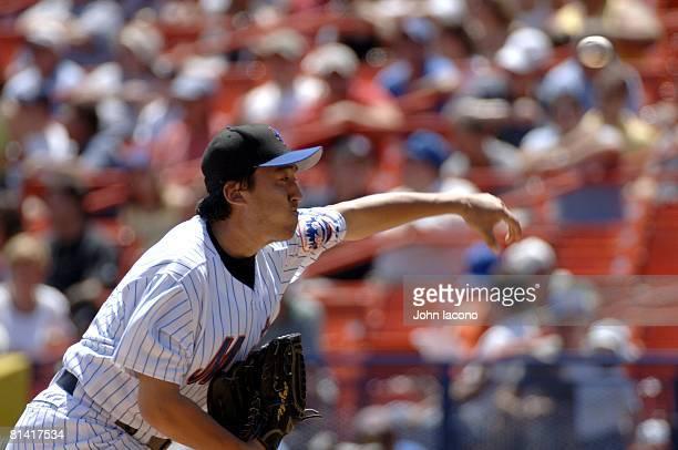 Baseball Closeup of New York Mets Kazuhisa Ishii in action pitching vs San Diego Padres Flushing NY 7/21/2005