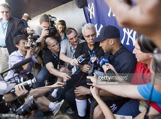 Closeup of New York Yankees Derek Jeter during media interview in dugout during spring training workout at Tampa FL 2/18/2009 CREDIT Chuck Solomon