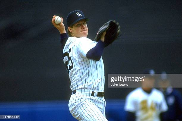 Closeup of New York Yankees Jim Abbott in action pitching vs Kansas City Royals at Yankee Stadium Bronx borough of New York City 4/12/1993 CREDIT...