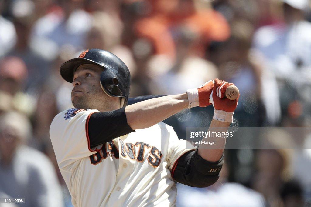 Closeup of San Francisco Giants Freddy Sanchez (21) in action, at bat vs Florida Marlins at AT&T Park. Brad Mangin F700 )
