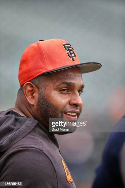 Closeup of San Francisco Giants Pablo Sandoval before game vs Tampa Bay Rays at Oracle Park San Francisco CA CREDIT Brad Mangin