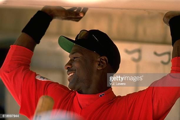 Closeup of Scottsdale Scorpions Michael Jordan in dugout before game at Scottsdale Stadium. Scottsdale, AZ CREDIT: V.J. Lovero