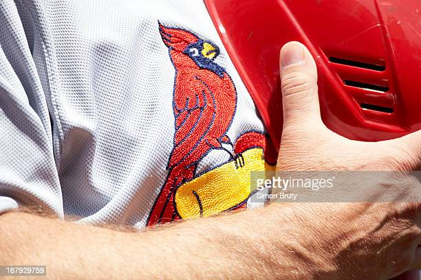 Closeup of St Louis Cardinals team logo on jersey during national anthem before game vs Washington Nationals at Nationals Park Washington DC CREDIT...